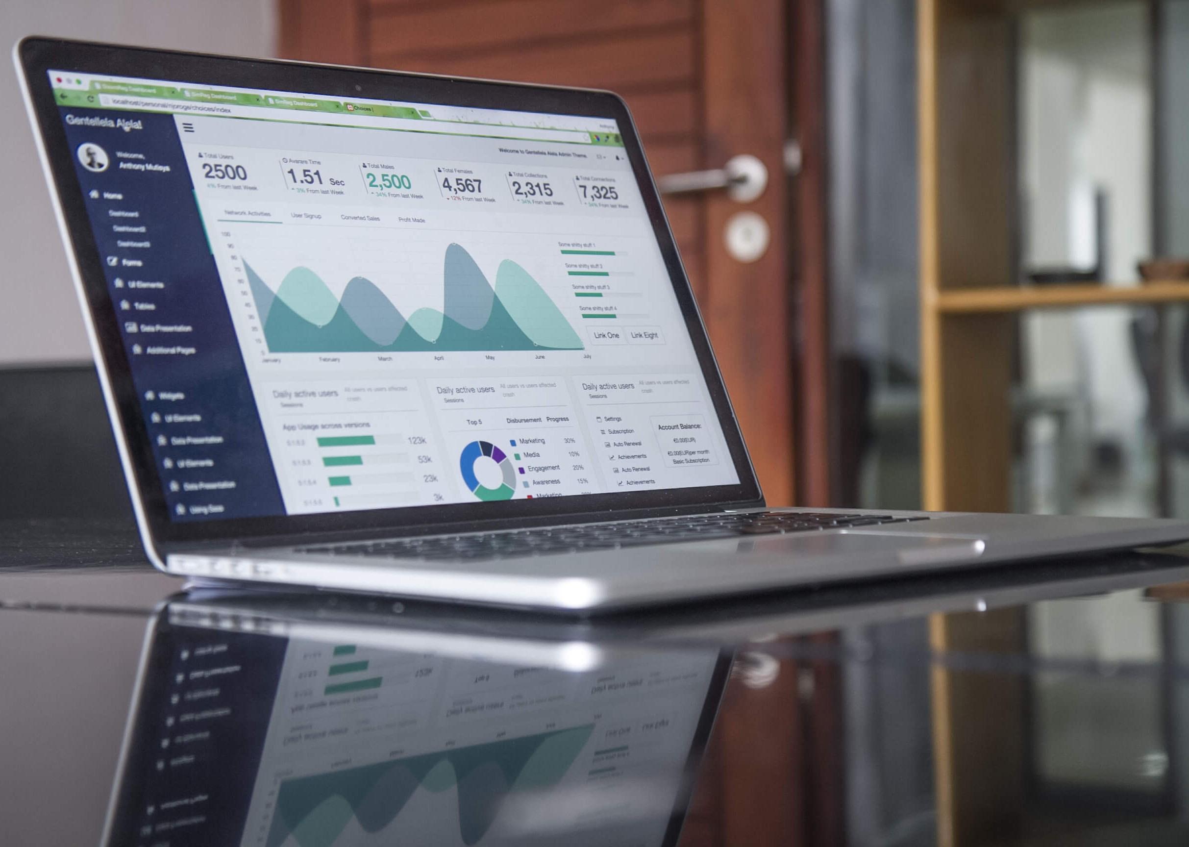 Laptop met een applicatie dashboard